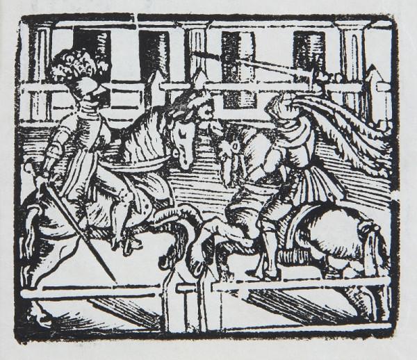 Neznámy autor – Boj rytierov na koňoch s mečmi