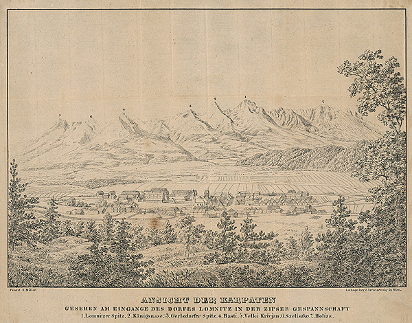 Josef Trentsensky, S. Miller - Pohľad na Tatry
