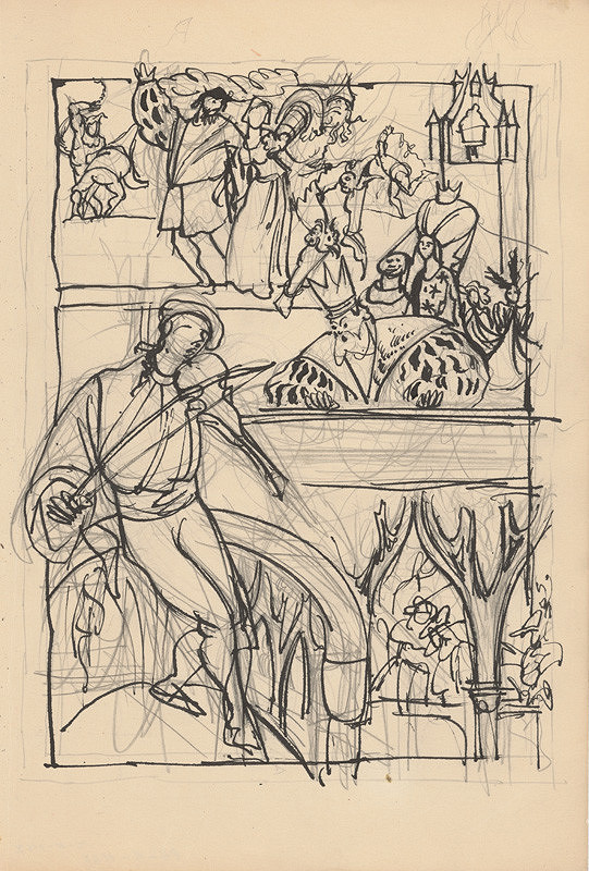 Ján Novák - Husliar - štúdia k ilustrácii