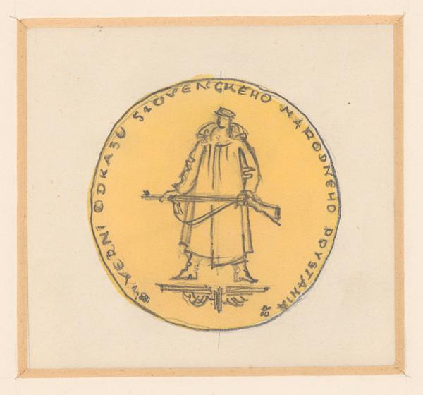 Rudolf Pribiš – Náčrt averzu medaile Železničiari