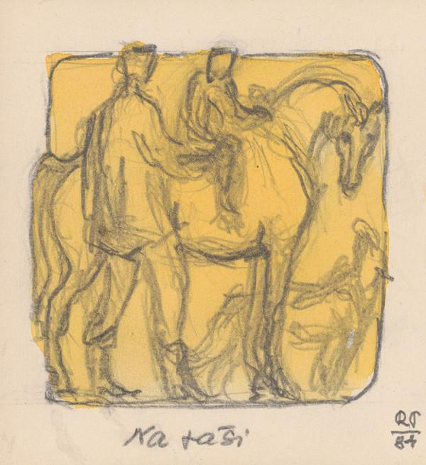 Rudolf Pribiš - Naša zem - kompozícia k cyklu reliéfov NA PAŠI (chlapec na koni)