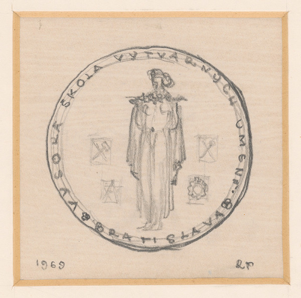 Rudolf Pribiš - II. náčrt k medaile VŠVU - averz