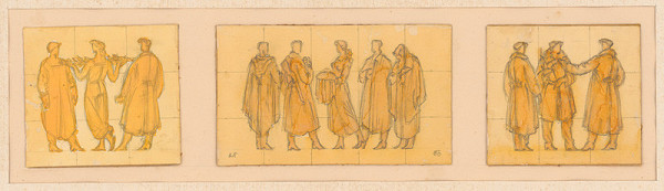 Rudolf Pribiš - Náčrt reliéfnej výzdoby Siene federácie