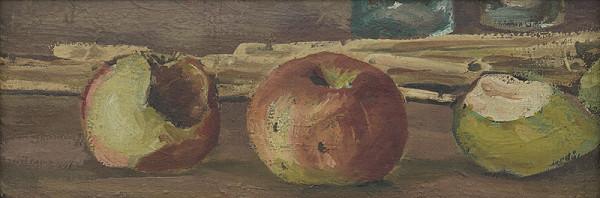Ervín Semian - Zátišie s jablkami a hruškou