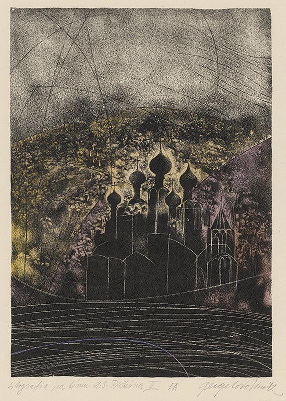 Viera Gergeľová – Litografia na tému A. S. Puškina III.