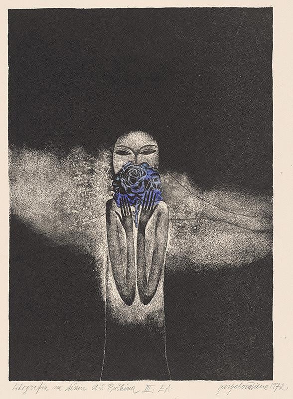 Viera Gergeľová – Litografia na tému A.S.Puškina X.