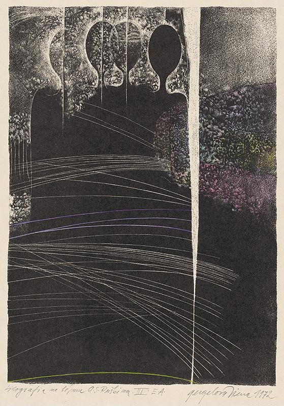 Viera Gergeľová – Litografia na tému A.S.Puškina XI.