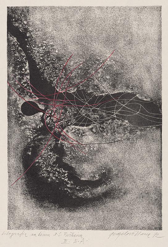 Viera Gergeľová – Litografia na tému A.S.Puškina XIII.
