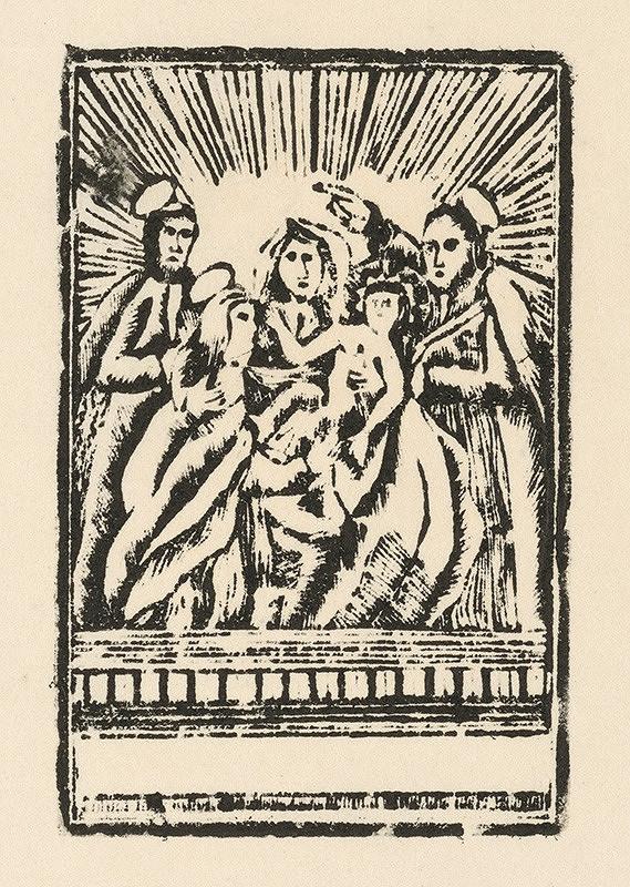 Slovenský grafik zo začiatku 19. storočia - Ježiš, Mária, Jozef, Joachym a Anna