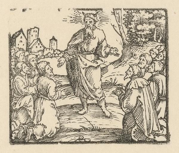 Nemecký grafik z 1. polovice 16. storočia - Mojžiš pred kľačiacim zástupom