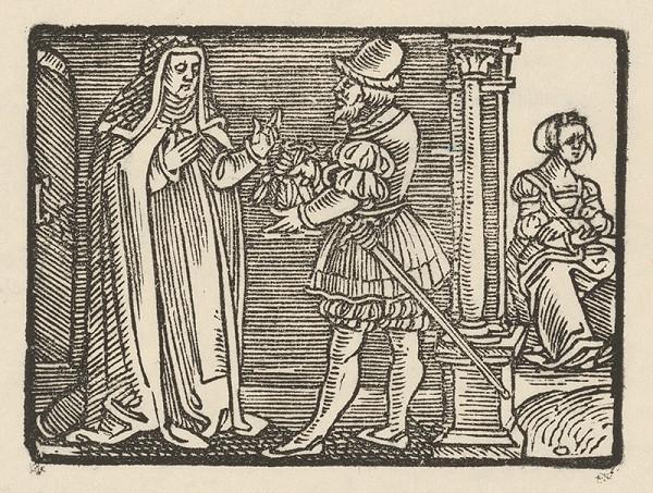 Nemecký grafik z 1. polovice 16. storočia - Andolsio dáva Agripinu do kláštora