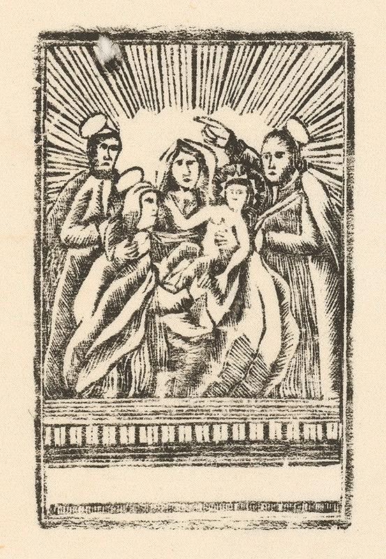 Slovenský grafik zo začiatku 19. storočia - Ježiš, Mária Joachym a Anna