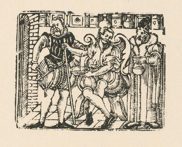 Moravský grafik z konca 16. storočia – Púšťanie žilou s lekárskym zátiším