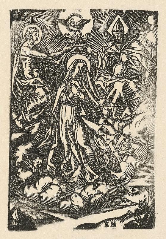 Moravský grafik zo začiatku 17. storočia - Korunovanie Panny Márie