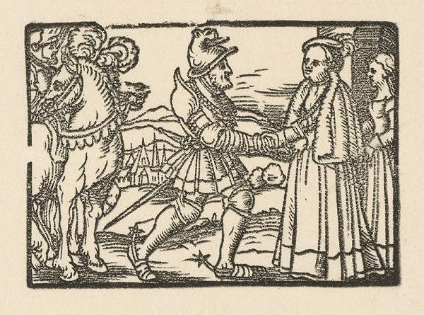 Nemecký grafik z 2. polovice 16. storočia - Stretnutie rytiera s dvornou dámou