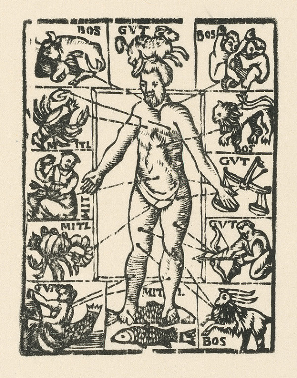 Nemecký grafik zo začiatku 17. storočia - Vplyv planét na ľudské zdravie
