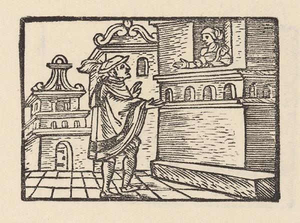 Nemecký grafik z polovice 16. storočia - Alexander pod Magelóniným oknom