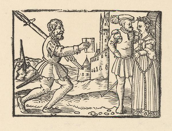 Nemecký grafik z 2. polovice 16. storočia – Vojak prináša správu kniežaciemu páru