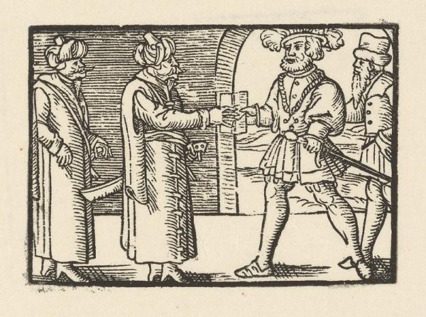 Nemecký grafik z 1. polovice 16. storočia - Fortunátus u tureckého sultána