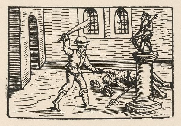 Nemecký grafik z 2. polovice 16. storočia - Koniec zápasu pred sochou antického boha
