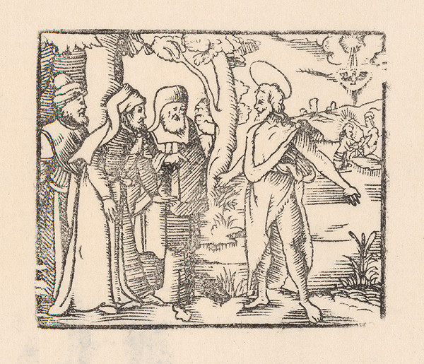 Nemecký grafik zo začiatku 17. storočia – Kristus a farizeji