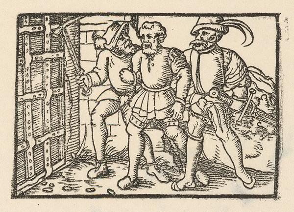 Nemecký grafik z 1. polovice 16. storočia – Dvaja rytieri vedú zajatého šľachtica