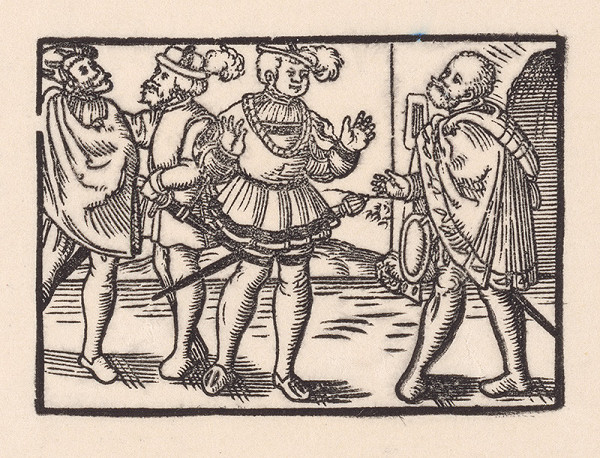 Nemecký grafik z 2. polovice 16. storočia – Rozhovor štyroch šľachticov pred bránou