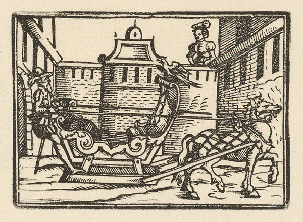 Nemecký grafik zo začiatku 17. storočia - Rytier na sánkach