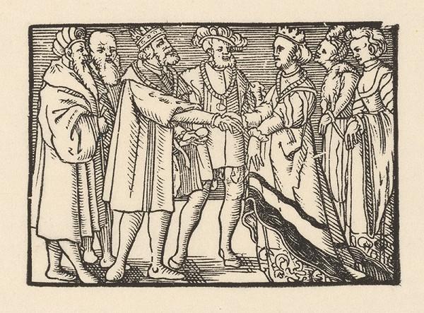 Nemecký grafik z 2. polovice 16. storočia – Knieža predstavuje Grizeldu