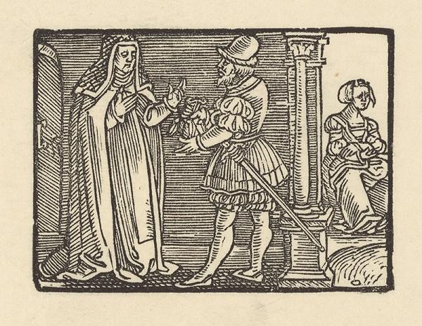 Nemecký grafik z 1. polovice 16. storočia - Andolsio odovzdáva Agripinu do kláštora