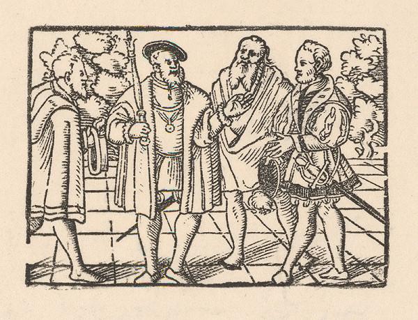 Nemecký grafik z 2. polovice 16. storočia – Rozhovor cisára s tromi šľachticmi