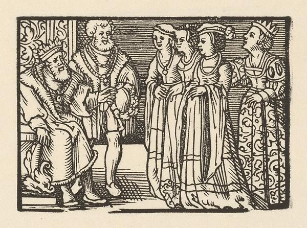 Nemecký grafik z 2. polovice 16. storočia – Kráľovná privádza pred kráľa tri dvorné dámy