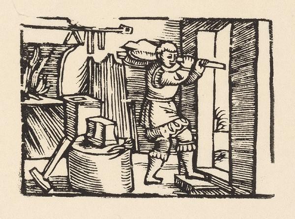 Nemecký grafik z polovice 16. storočia – Enšpígl odnáša mechy z kovárne
