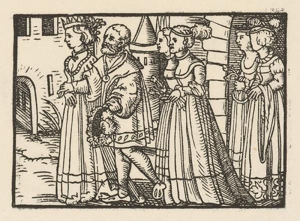 Nemecký grafik z 2. polovice 16. storočia – Knieža vedie Grizeldu na svadbu