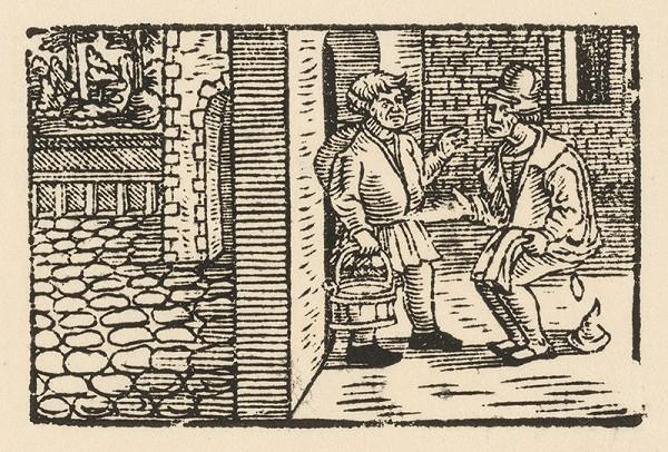 Nemecký grafik z 2. polovice 16. storočia - Ezop poučuje Xanta