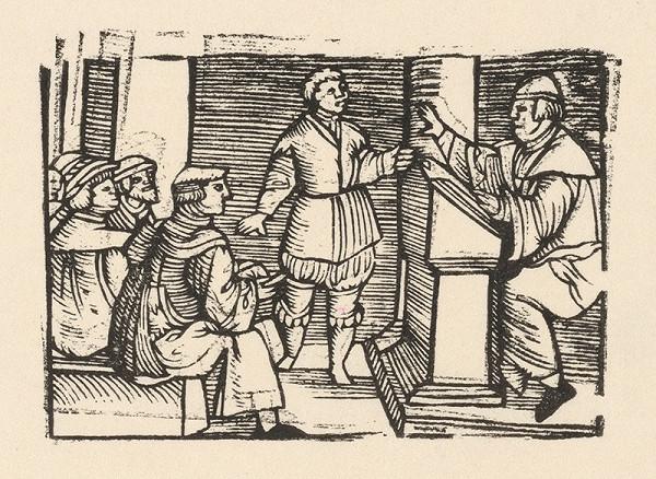 Nemecký grafik z polovice 16. storočia – Enšpígl vyrušuje v škole