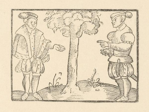 Nemecký grafik z 1. polovice 16. storočia - Rozhovor dvoch šľachticov