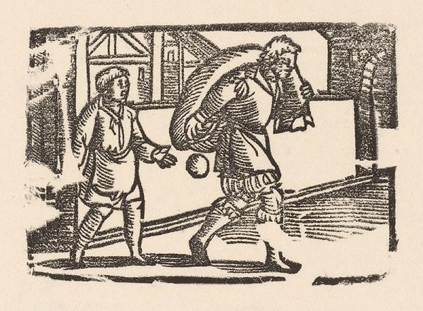 Nemecký grafik z polovice 16. storočia – Enšpígl s vrecom
