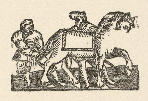 Nemecký grafik z polovice 16. storočia – Enšpígl zapletá koňovi chvost