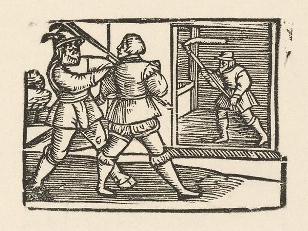 Nemecký grafik z polovice 16. storočia – Enšpígl pomáha pri mlátení obilia