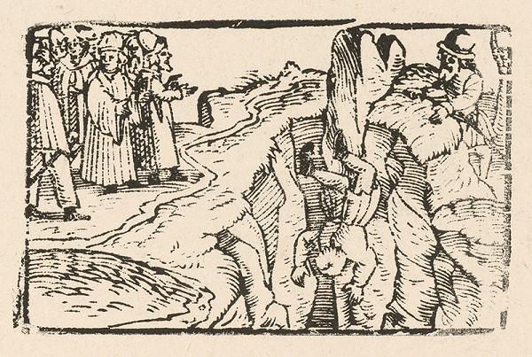 Nemecký grafik z 2. polovice 16. storočia – Ezop pozerá na popravu