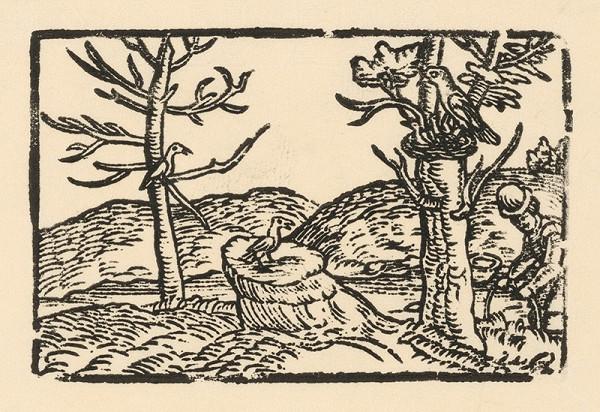 Nemecký grafik z 2. polovice 16. storočia – Vtáčí rozhovor