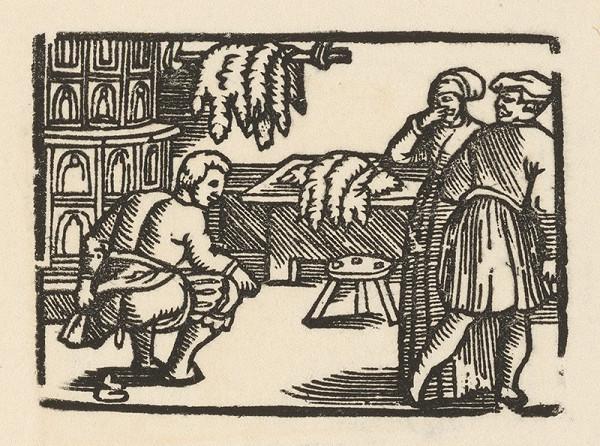 Nemecký grafik z polovice 16. storočia – Enšpígl ako kožušník