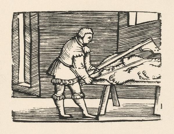 Nemecký grafik z polovice 16. storočia - Enšpígl odierajúci kožu