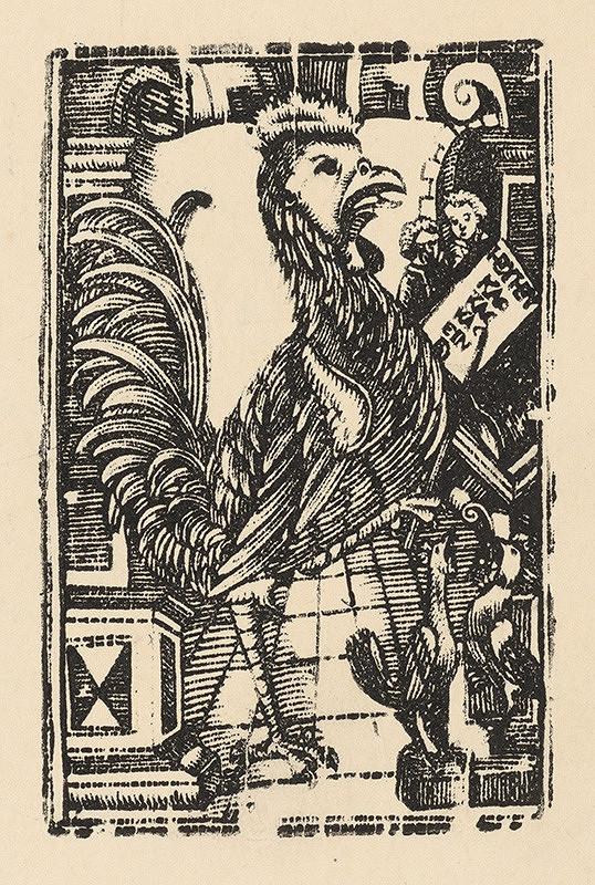 Moravský grafik zo začiatku 17. storočia - sliepka vyučujúca kurča
