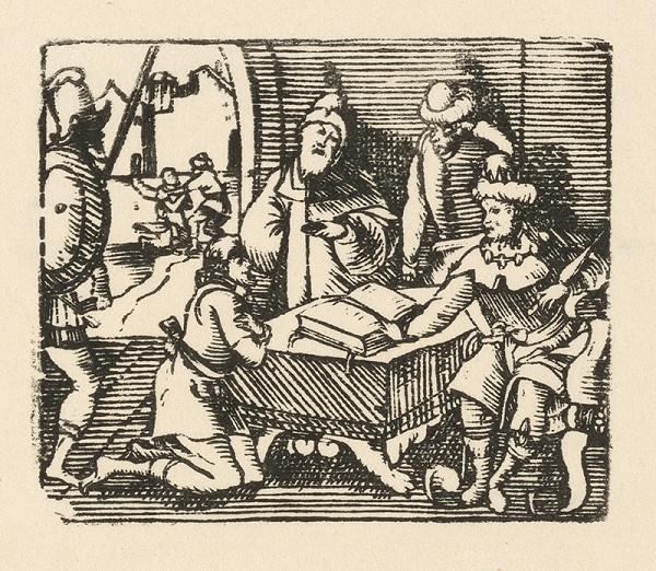 Nemecký grafik zo začiatku 17. storočia – Kľačiaci prosebník pred kráľom a sudcami