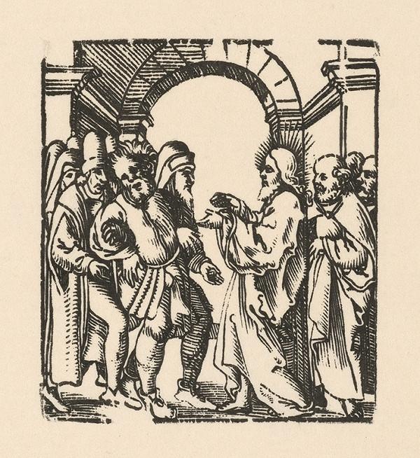 Nemecký grafik z 1. polovice 16. storočia - Kristus uzdravuje diablom posadnutého