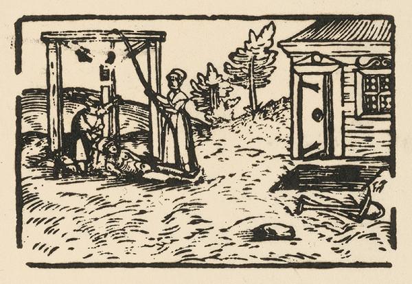 Nemecký grafik z 2. polovice 16. storočia – Zvesovanie obesenca