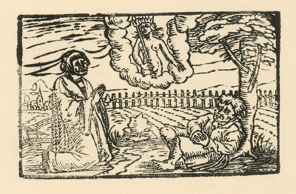 Nemecký grafik z 2. polovice 16. storočia - Kňaz bohyne Izis prosí za Ezopa za preukázané služby