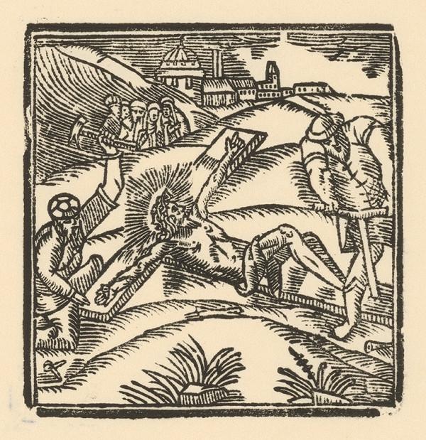 Moravský grafik z polovice 17. storočia - Pribíjanie Krista na kríž